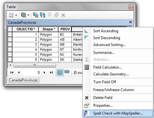 MapSpeller™: Spell Checking Table Field Values